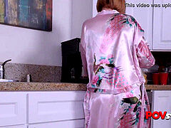 mischievous stepson opens his horny stepmoms bathrobe off in the kitchen