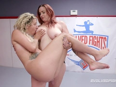 Lesbian wrestling and strapon sex with busty Bella Rossi And Sophia Grace