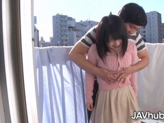 Japanese young girl shagged on the balcony
