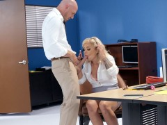 Madelyn Monroe is sucking the big cock in the office