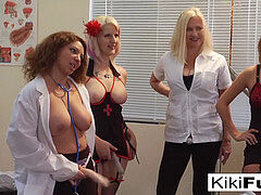 four damsels peg and manhandle their creepy gynecologist