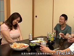 busty JAPANESE MILF YUMI KAZAMA GETS DRUNK AND GANGBANGED BY 3 boys