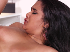 Thick slut with big titties bounces on a fat cock