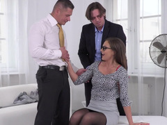 Radiant office babe ins stockings handles her customers' cocks
