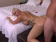 Busty blonde mom sucks dick and titty fucks in POV
