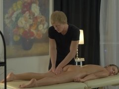 Ponytailed Emma Brown gets oiled up massage & wet fucking from her masseur