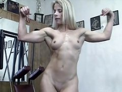 Muscle Cougar Claire Works Out Nude