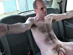 Perverted blonde fuck guy in taxi