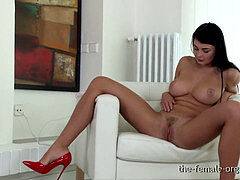 fabulous Coed with Big Natural Breasts masturbates to Real climaxes