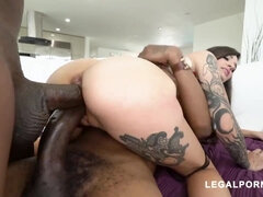 Interracial anal and double penetration with skinny tattooed brunette - medium natural tits