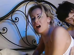 Fantastic italian mom with stocking dual pummeled rock-hard