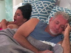 Two busty bitches are going down on one another in the bedroom