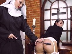 Kinky lesbian nun punishes gorgeous latina vixen with round ass