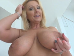 Blonde MILF with bi tits masturbating with toys