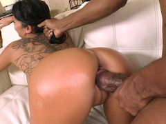 Gorgeous Sienna West gets fucked like crazy by funny black guy