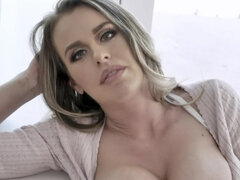 Stunning MILF cheers stepson up masturbating pussy with dildo