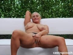 Chubby and tall mature with big tits gets fucked outdoors