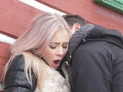 Dane Jones Deepthroat cock sucking public doggystyle & face cumshot for blonde chick