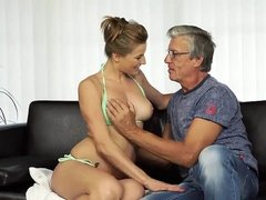 DADDY4K. sweetie looks hot in wet swimsuit so why aged dude wants her