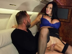 Busty stewardess is being titfucked and banged on the plane