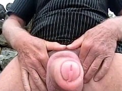 My pumped foreskin spunk-pump outdoor - cum-shot #01B