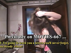 Bathroom catfight turns into dame-on-doll fuck-a-thon session