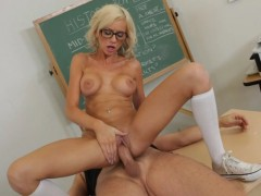 Kaylee Hilton wearing sexy glasses riding cock reverse cowgirl style