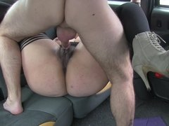 BBW Lady Frontaine getting her hairy cunt stuffed with cock in the cab