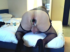 gaping anal dilator stretching and dildo to fuck
