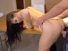 young boy fucks Lovenia Lux on the kitchen table