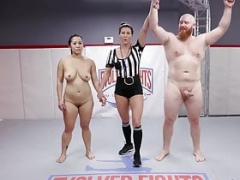Naked wrestling match and sex fight Song Lee vs Thor