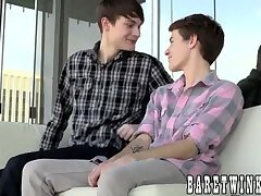 Big dick twink fucks his boyfriend up the ass bareback style