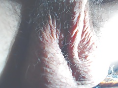 Hairy balls close-up orgasm