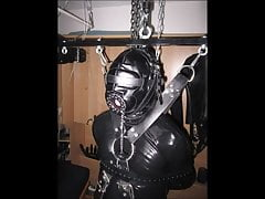 Hanging bondage in full rubber