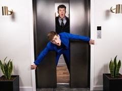 Businessmen JJ Knight and Joey Mills fuck in an elevator