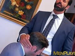 Stud gets his butt hole drilled by businessman as he moans