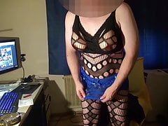 Fake boobs - some fapping in netsuit and boobfree dress