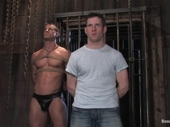 Horny gays get beaten and mouth fucked in BDSM video