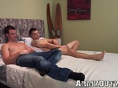 Stud spreads his bud's cheeks and licks his tight ass hole
