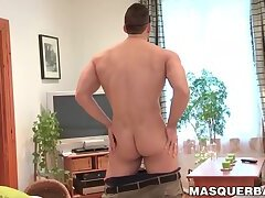 Hunky muscular and masked guy Nathan Topps solo masturbates