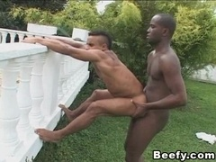 Horny Latino lets a black stud drill his gay bumhole from behind