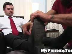 Feet worshiping and licking with classy hunk and muscular daddy