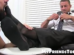 Naughty businessman Ray masturbates during foot treatment