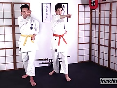 Two young karatekas naked under their kimonos