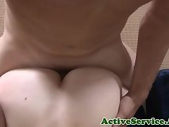 Inked amateur jock assfucked after blowjob