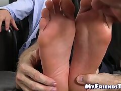 Hunk gets his feet licked by an old grandpa and loves it all