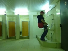 Str8 guy stroke in public toilet