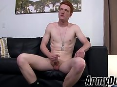 Redhead soldier Edward Teach jacking off his strong cock