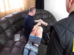 Dad and his friend give a naughty son a spanking