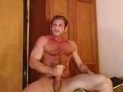 hairy Romanian daddy stroking